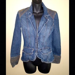CACHE Fitted Denim Jacket, Details - Size Small